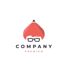nerdy pencil icon logo premium vector image