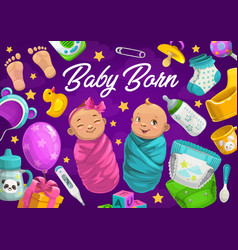 Newborn baby boy and girl with accessories vector