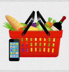 online shopping shopping basket with foods and vector image