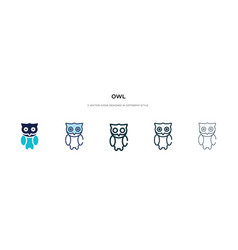Owl icon in different style two colored and vector