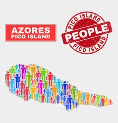 Pico island map population demographics and grunge vector