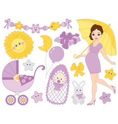 Pregnant Woman Set vector