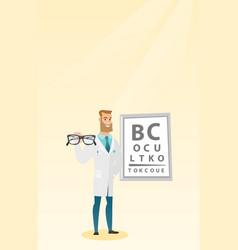 Professional ophthalmologist holding eyeglasses vector