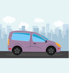 purple car in the background of skyscrapers vector image