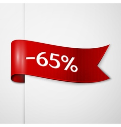 Red ribbon with inscription 65 percent discounts vector image