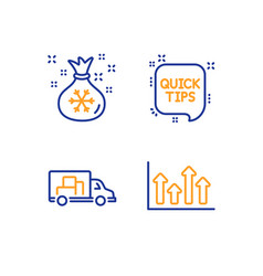 Santa sack quick tips and truck transport icons vector