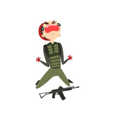 screaming military man with hands in blood vector image