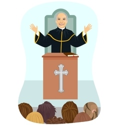 Senior protestant priest gives his sermon vector