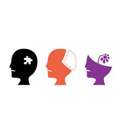 set alzheimers disease icons art vector image