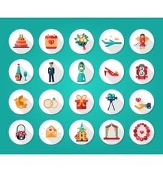 set flat design wedding and marriage icons vector image