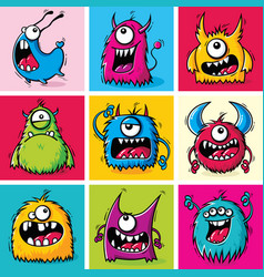 set funny cartoon furry monsters vector image