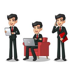 set of businessman in black suit working on gadget vector image