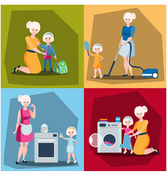 Set of mother with daughter vector