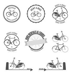 Set rent a bike design elements vector