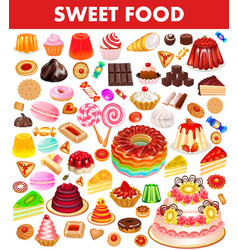 set sweet food with cake cookies jelly donuts vector image