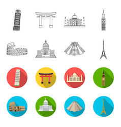 Sights of different countries outlineflet icons vector