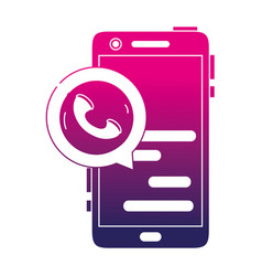 Silhouette smartphone chat bubble with phone sign vector