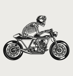 skeleton in helmet and goggles riding motorcycle vector image