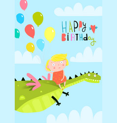 small girl kid and dragon in sky vector image