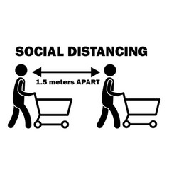 Social distancing 15m apart stick figure vector