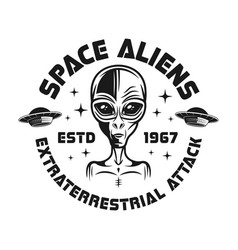 Space aliens black emblem in vintage style vector