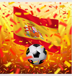 spanish national flag and soccer ball vector image