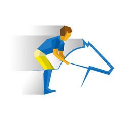 sportsman riding a horse equestrian sport vector image