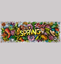 Spring hand drawn cartoon doodles vector