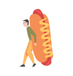 Tiny man with huge hot dog with mustard vector