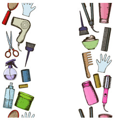 Tools and hair care products vector