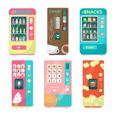 vending machine set flat isolated vector image