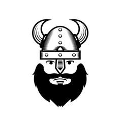 Viking warrior head icon vector