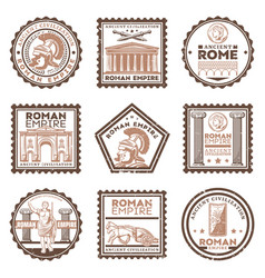 Vintage ancient rome civilization stamps set vector