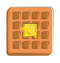Waffle with butter melting on it food related vector