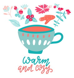 warm and cozy hot drinks card print or poster vector image