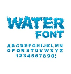 Water font Aqua alphabet Drops of water ABC Wet vector