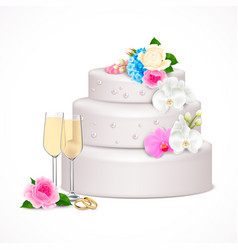Wedding cake realistic composition vector