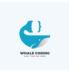 Whale Coding Abstract Emblem Label Logo vector image