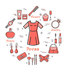 woman accessories concept - red classic dress icon vector image