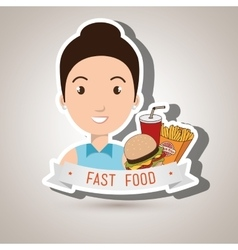 Woman cartoon fast food vector