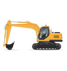 Yellow excavator vector