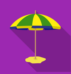 Yelow-green beach umbrella icon in flate style vector