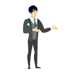 Young asian happy groom gesturing vector