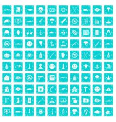 100 oppression icons set grunge blue vector image vector image