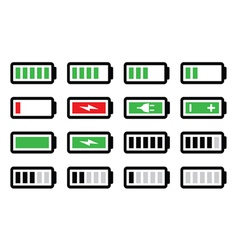 Battery charge icons set vector image vector image