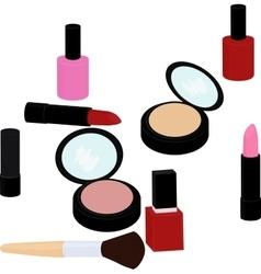 beauty products set lipstick nail polish powder vector image