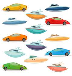 cars yachts boats cartoon set vector image vector image