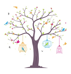colorful Birds with tree and birdcage vector image