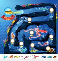 Deep sea exploration treasure game map vector