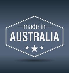Made in australia hexagonal white vintage label vector